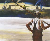 Usine, Loire et témoin,1981 (huile sur toile, 143 x 172 cm, coll. part. DJP)