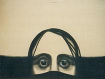 L'homme du café d'Anduze, env. 1980, (gouache, 50 x 65 cm, coll. part. MR)