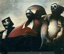 Tous les chemins mènent à la mort (les trois évêques), 1980, (huile, 143 x 172 cm, Nantes, Musée des Beaux-Arts. INV 980-19-I-P)