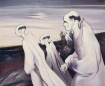 Les moines, env. 1980, (huile, 142 x 173 cm, coll. part. MCG)