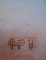 BEGEGNUNG (TIER), Acryl  130X100 cm 2.900,-,-€