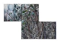 o.T., 4-teilig, je Quadrat 20 x 20 cm, Öl auf Baumwolle, 2013