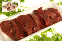 Higado y riñones de cordero. El hígado se vende entero ya que es muy pequeño, de sabor es más suave que el de cordero. Aporta una gran cantidad de vitamina A, del complejo de vitamina B, de proteínas y de hierro.