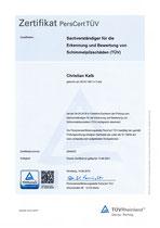 Zertifikat Sachverständiger für die Erkennung und Bewertung von Schimmelpilzschäden (TÜV)