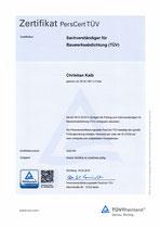 Zertifikat Sachverständiger für Bauwerksabdichtung (TÜV)