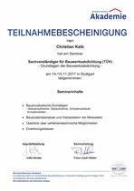 Teilnahmebestätigung Grundlagen der Bauwerksabdichtung (TÜV)