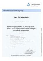 Teilnahmebescheinigung Schimmelpilzschäden in Innenräumen (TÜV Rheinland)