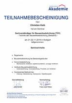 Teilnahmebestätigung Bauwerksabdichtung Bestand (TÜV)