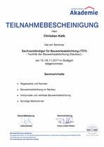 Teilnahmebestätigung Bauwerksabdichtung Neubau (TÜV)