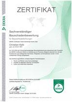Zertifikat DEKRA zertifizierter Sachverständiger für Bauschadenbewertung - Bauwerksabdichtungen