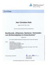 Sachkundenachweis Schimmel in Innenräumen (TÜV Rheinland)