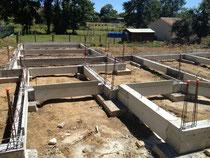 Fondation spéciale plots longrines pour une maison à Fléac
