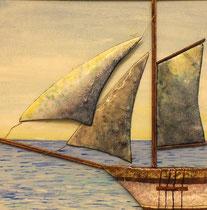 Velero, esmalte sobre madera pintada