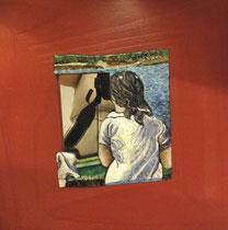 Mujer de Dali asomada a un espero. Esmalte al fuego sobre madera y cristal