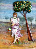 La primavera de Botichelli, Realizado en esmalte al fuego sobre madera y dibujo