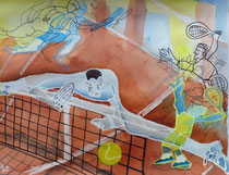 -Ballspagat- 2016, Aquarell-Mischtechnik, 50 x 65cm