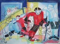 """Bodycheck"", 2013, 50 x 65cm, Aquarell Mischtechnik"