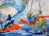 Wassersport, 2014, 50 x 65cm, Aquarellmischtechnik