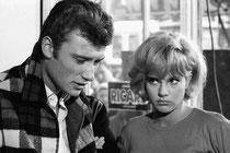 Johnny et Sylvie sur le tournage de leur 1er film, 1963