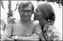 Claude Chabrol et sa femme Stéphane Audran 1972