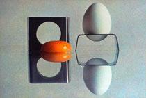 un coquetier trés design, tirage au charbon( style daguérrotype )