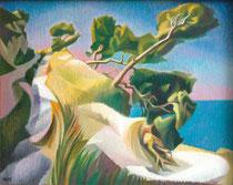 Mediterrane Landschaft, Öl auf Leinwand