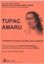 Affiche Concert novembre 2008 Tupac Amaru - Villiers sur Marne