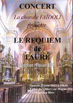 Affiche Concert Requiem de Fauré juin 2013 - Villiers sur Marne