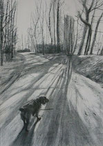 Wandeling No1. -2010- Acryl en Charcoal on paper/32x41cm