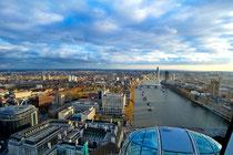 Blick aus London Eye über die Themse