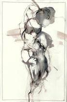 "Nr. 1 der Serie ""Zwei Seiten""  40 X 25 cm, Kohle /Transparent auf Aquarellpapier genäht, 2017"