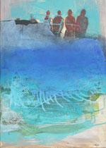 Gischt, Mischtechnik auf Leinwand, 70 x 50 cm, 2019