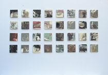 Impressionen, Mischtechnik auf Leinwand, je 7,5 x 7,5 cm, montiert (Außenmaß m.R. 104 x 74 cm), 2018