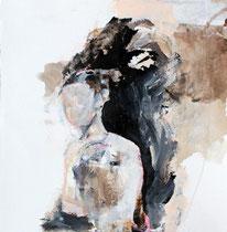 Nachtluft, Mischtechnik auf Büttenpapier  27 x 27 cm
