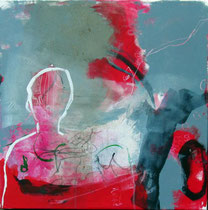 Reise I,  Collage, Pigmente, u.a. 50 x 50cm