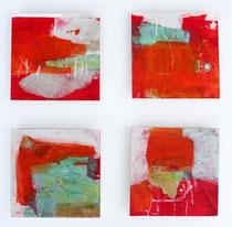 Fabel, Acryl, Pigment, Steinmehl, Asche u.a auf MDF-Platte,  je 15 x 15cm