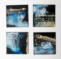 Serie Nachtspaziergang, Pigment, Acryl, Collage u.a. auf MDF-Platten, je 10 x 10cm