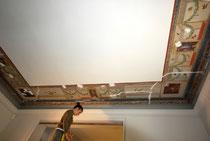 décor plafond séjour, avant restauration à la chaux- Nice