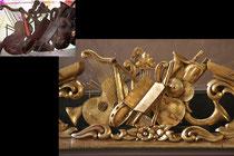 dorure traditionnelle à l'or fin sur éléments en bois