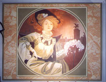 décor peint inspiration MUCHA, pour restaurant 110 X 140 cm