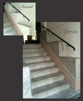 Effet marbre dans montée d 'escalier - Nice