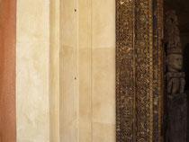 fausse pierre et patine sur bois. Réalisé pour projet  Giustini Design - Nice