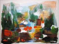 Landschaft am Fluss, 80 x 60
