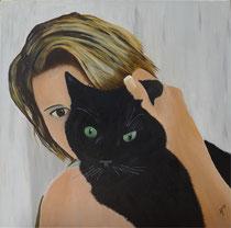 CatNadine, Acryl auf Leinwand, 60x60 cm