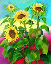 Sonnenblumen 2   100 x 80 cm   Acryl auf Leinwand