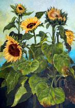 Sonnenblumen 1   100 x 70 cm   Acryl auf Leinwand   verkauft