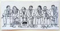 Die Musi  10 x 30 cm  Tusche-Zeichnung