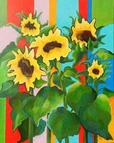 Sonnenblumen 4   100 x 80 cm   Acryl auf Leinwand