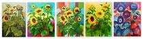 Sonnenblumen-Abstraktion  je 100 x 80 cm   Acryl auf Leinwand