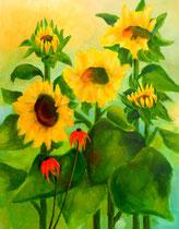 Sonnenblumen 3   100 x 80 cm   Acryl auf Leinwand